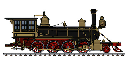 Vintage black american wild west steam locomotive Vector illustration. Çizim