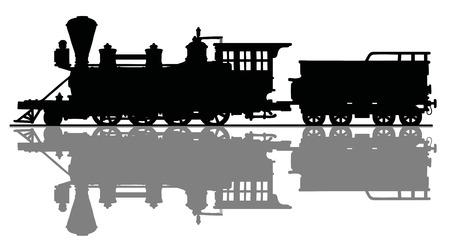 Silueta negra de una vieja locomotora de vapor estadounidense Ilustración vectorial.