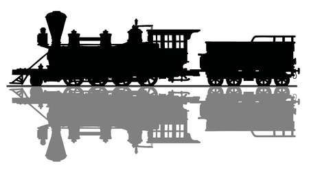 Black silhouette of an old American steam locomotive Vector illustration.