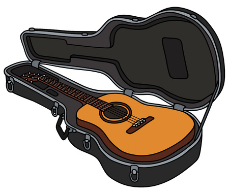 The classic acoustic guitar in a hard case