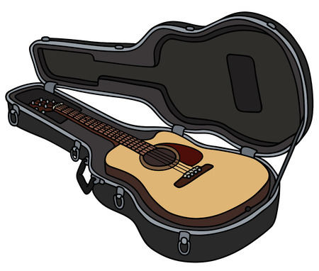 The guitar in a hard case Vector illustration.