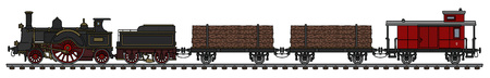 Vintage steam train icon. 向量圖像
