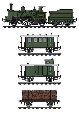 The vintage steam train Vector illustration. 向量圖像
