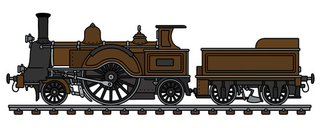 The vintage brown steam locomotive Vector illustration.