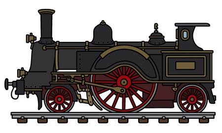 El ejemplo negro del vector de la locomotora de vapor del vintage.