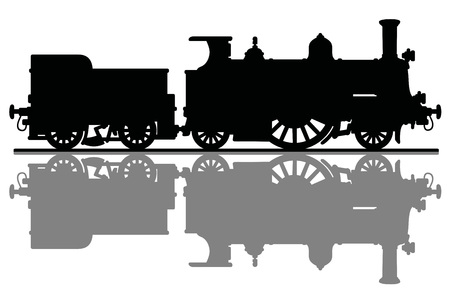 The silhouette of a vintage steam locomotive Vector illustration.