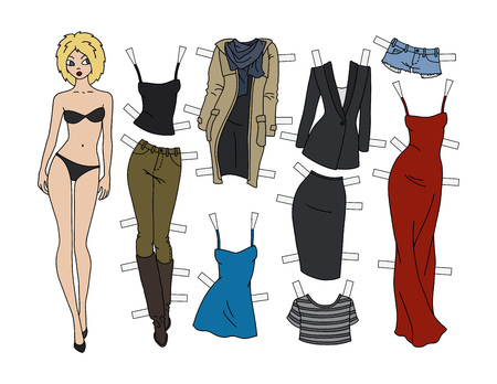 Blonde paper doll with cutout clothes vector illustration Illustration