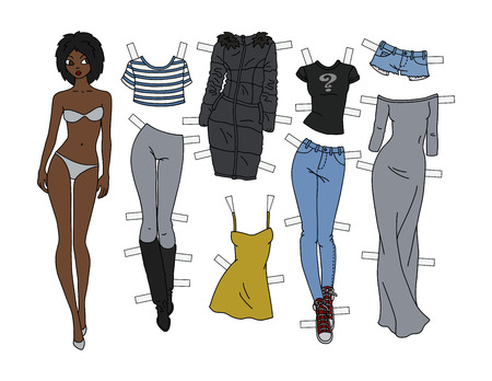 Afro-american paper doll with cutout clothes vector illustration 일러스트