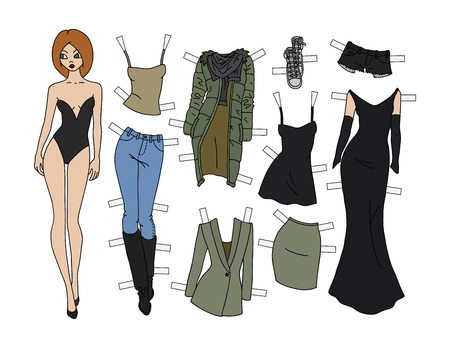 Red head paper doll with cutout clothes vector illustration