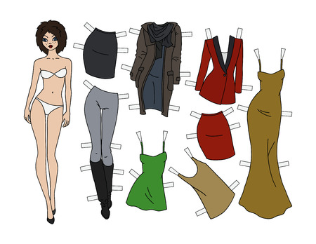 Brunette paper doll with cutout clothes vector illustration