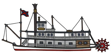 Main, dessin d'une illustration vectorielle de steam paddle riverboat