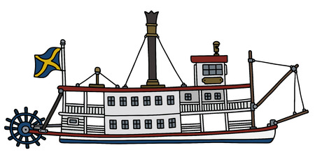 Hand drawing of a classic steam paddle riverboat vector illustration
