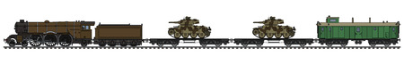Hand drawing of a vintage military steam train, Vector illustration. Illustration
