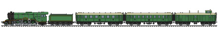 The hand drawing of a vintage green passenger steam train