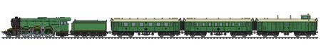 Il disegno a mano di un treno a vapore passeggeri verde vintage