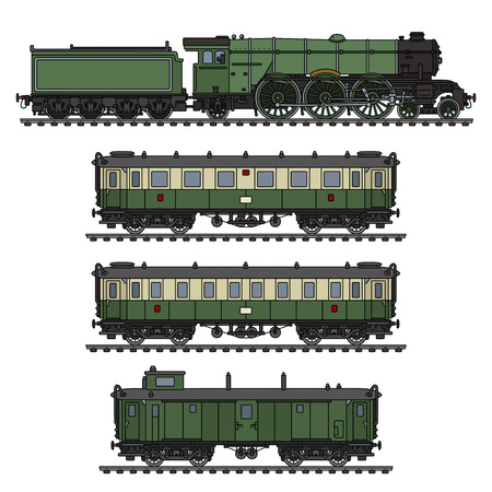 빈티지 녹색 승객 증기 기차의 손 드로잉