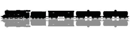 Hand drawing of a black silhouette of the vintage freight steam train