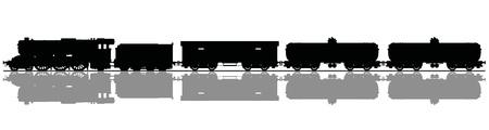 Dessin à la main d'une silhouette noire du train à vapeur de fret vintage
