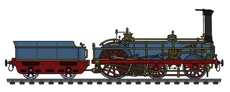 The vintage blue steam locomotive Vector Illustration