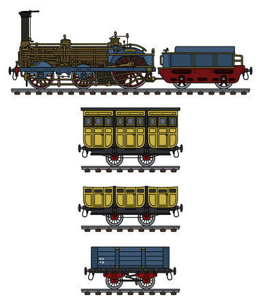 The hand drawing of a historical steam train