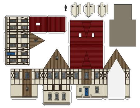 Maquette en papier d'une vieille maison à colombages Vecteurs