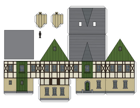 Paper model of an old half timbered house Illustration