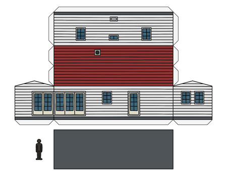 The paper model of a white wooden mobilhome Illustration