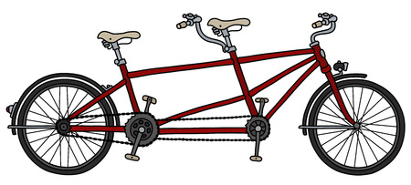 The classic red tandem bicycle Ilustracja