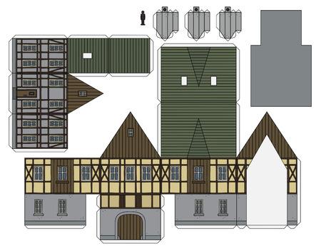 Le modèle en papier d'une vieille maison à colombages Vecteurs