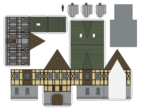 The paper model of an old half timbered house