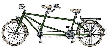 The classic green tandem bicycle