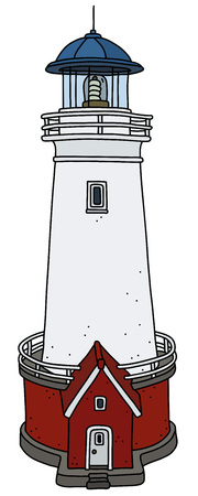 The hand drawing of an old red and white stone lighthouse Illustration