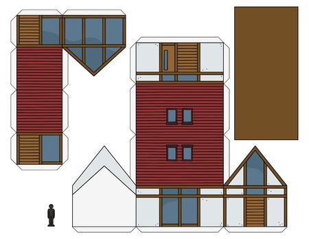 The paper model of a modern design house Illustration