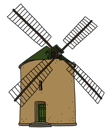 The hand drawing of an old strone windmill Illustration