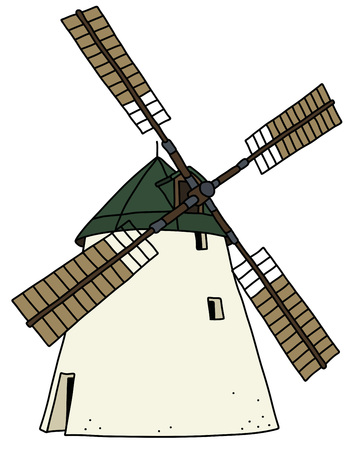 The hand drawing of an old strone windmill Ilustração