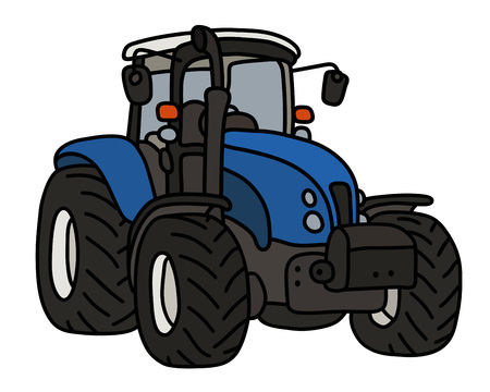 The blue heavy tractor Ilustracja