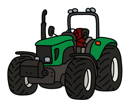 The green open heavy tractor