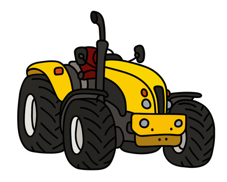 The yellow open heavy tractor Banque d'images - 95575149