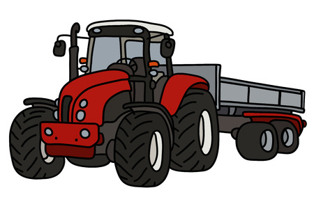 The red heavy tractor with a trailer Ilustracja