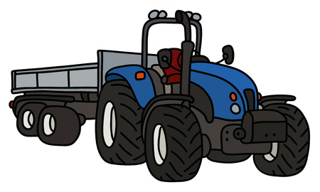 The blue open tractor with a steel trailer