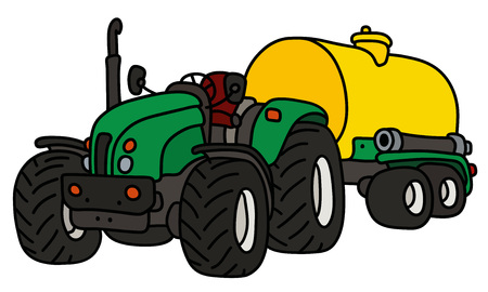 The green open tractor with a yellow tank trailer
