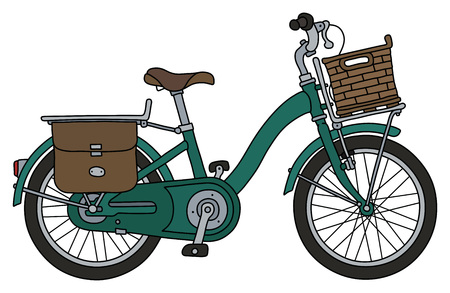 The classic green bicycle with a basket