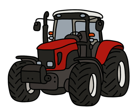 The red heavy tractor Ilustracja