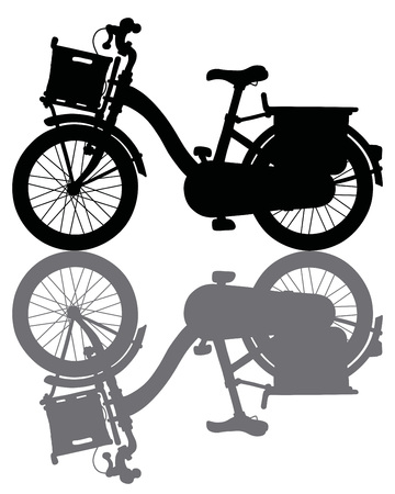 The black silhouette of a classic city bicycle illustration. Illustration