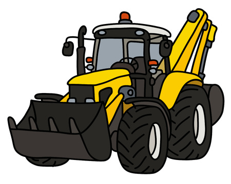 The yellow tractor with an excavator and a blade Illustration