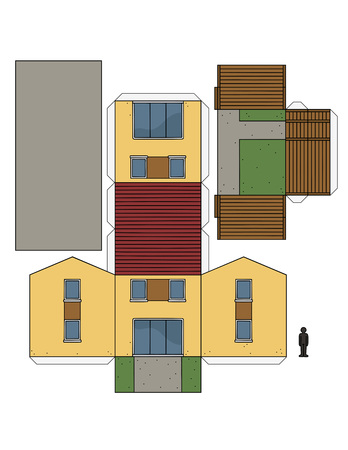 The paper model of a small house Illustration