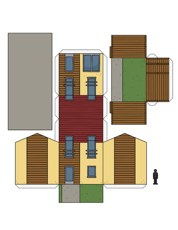 The paper model of a modern small house Illustration