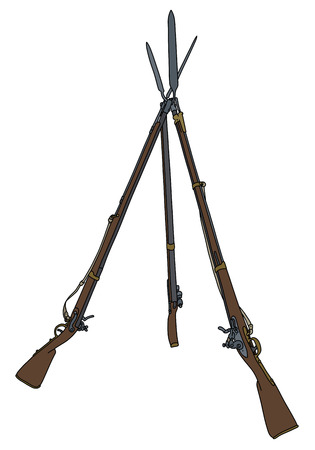 Three vintage military rifles built in the pyramid