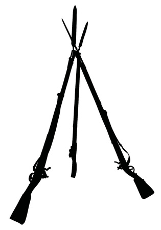 The black silhouette of vintage military rifles