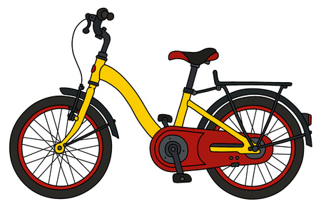 The funny red and yellow city bicycle Stock Illustratie